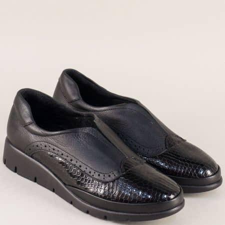 Черни дамски обувки със стелка от естествена кожа b1000krch