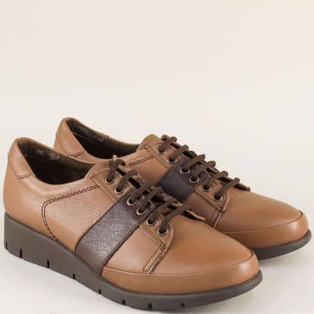 Кожени дамски обувки в кафяво и тъмно кафяво b1001k
