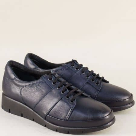 Сини дамски обувки от естествена кожа на комфортно ходило b1001s