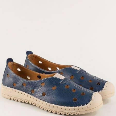 Сини дамски обувки с перфорация от естествена кожа b1033s