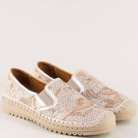Розови дамски обувки с лазерна естествена кожа b1035srz