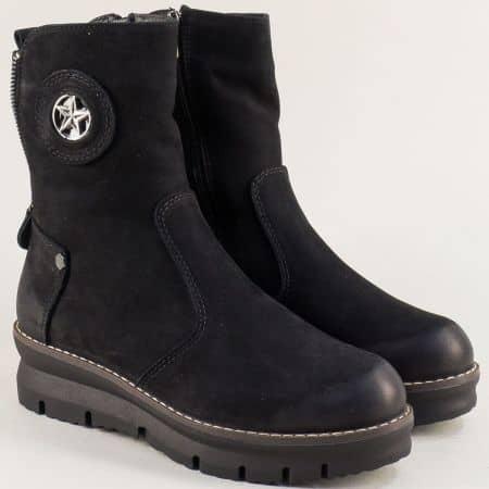 Черни дамски боти на платформа от естествен набук  b104nch