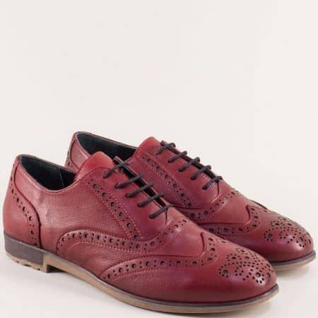Дамски обувки с връзки от естествена кожа в цвят бордо b109bd