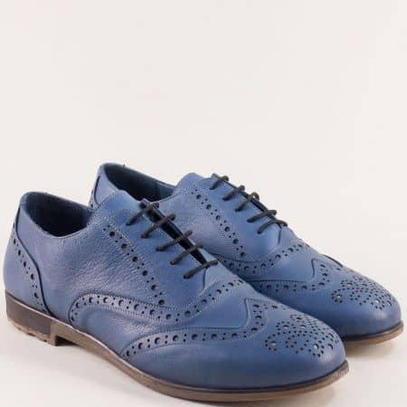 Дамски обувки с връзки от естествена кожа в син цвят b109s