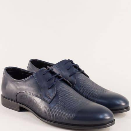 Тъмно сини мъжки обувки с връзки и кожена стелка b1200s