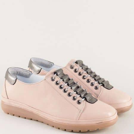 Розови дамски обувки от естествена кожа и каучук b1220rz