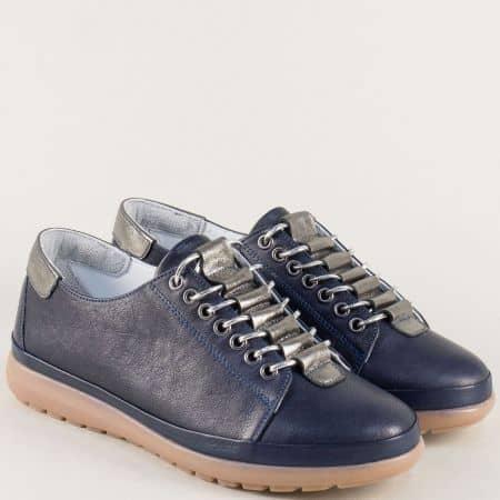 Тъмно сини дамски обувки с връзки и кожена стелка  b1220s