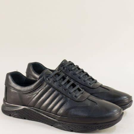 Спортни мъжки обувки от естествена кожа в черен цвят b1312ch