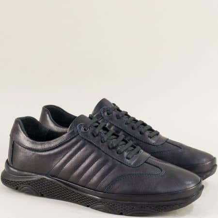 Спортни мъжки обувки с връзки в тъмно син цвят  b1312s