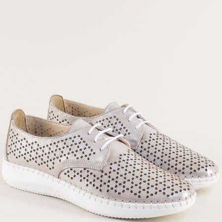 Бежови дамски обувки от естествена кожа с перфорация b1402sbj