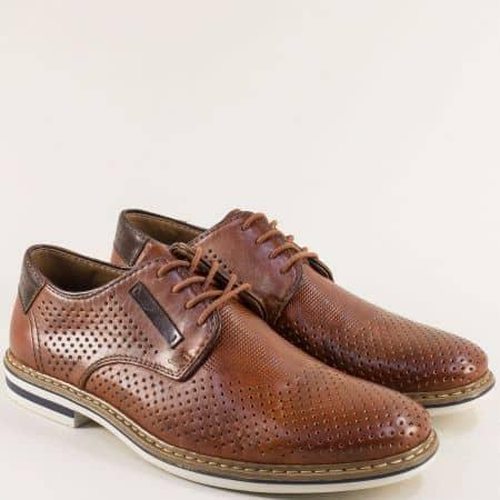 Кафяви мъжки обувки от естествена кожа с връзки и перфорация- RIEKER b145k