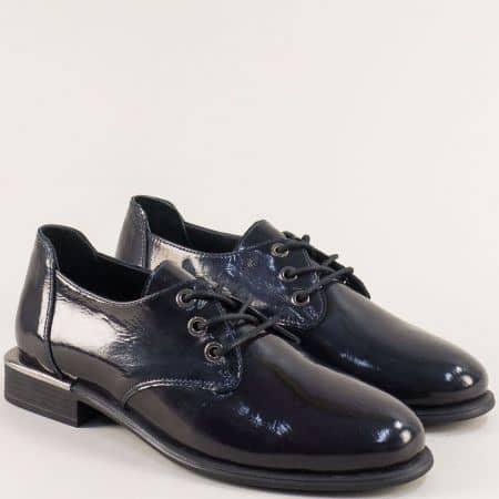 Тъмно сини дамски обувки с връзки от естествен лак b1542ls
