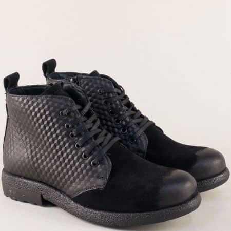 Черни дамски боти от естествен велур, кожа и каучук b2119vch
