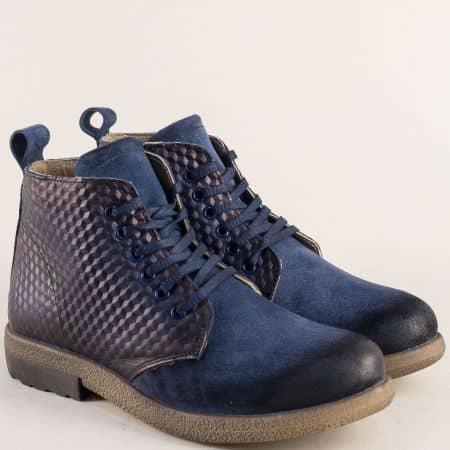 Сини дамски боти от естествен велур, кожа и каучук b2119vs