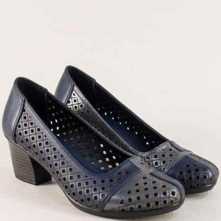 Сини дамски обувки от естествена кожа на среден ток b216s