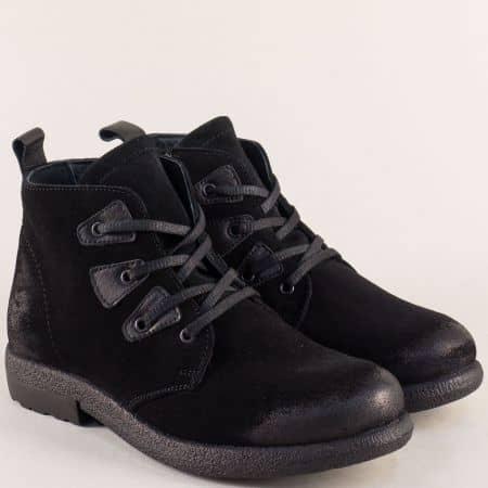 Черни дамски боти на каучуково ходило от естествен материал b2219vch