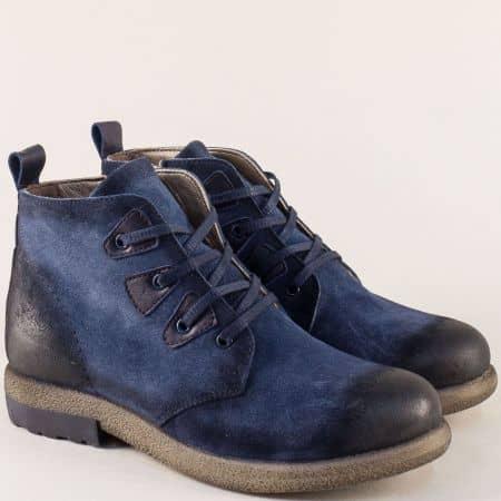 Дамски боти от естествен велур и каучук в син цвят b2219vs