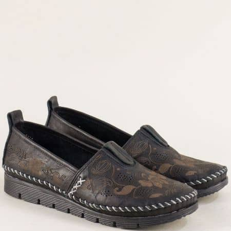 Черни дамски обувки на анатомично ходило от естествена кожа b256ch