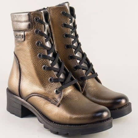 Модерни дамски боти от естествена кожа в златист и бронзов цвят  b260ps