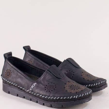 Перфорирани дамски обувки от естествена кожа в черно b265ch