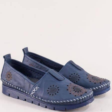 Тъмно сини дамски обувки от естествена кожа с перфорация b265s