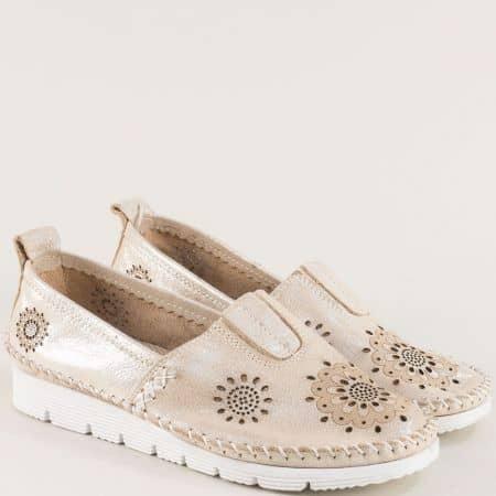 Бежови дамски обувки от естествена кожа с перфорация b265sbj
