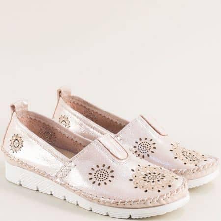 Розови дамски обувки с ластик от естествена кожа b265srz