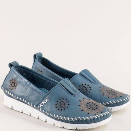 Сини дамски обувки от естествена кожа с лазарна декорация b265ss