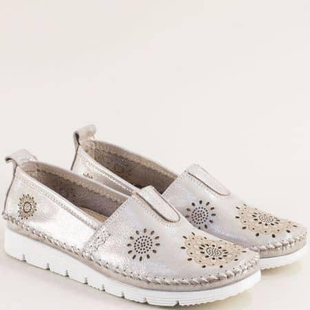 Сребърни дамски обувки с кожена стелка и перфорация b265ssr