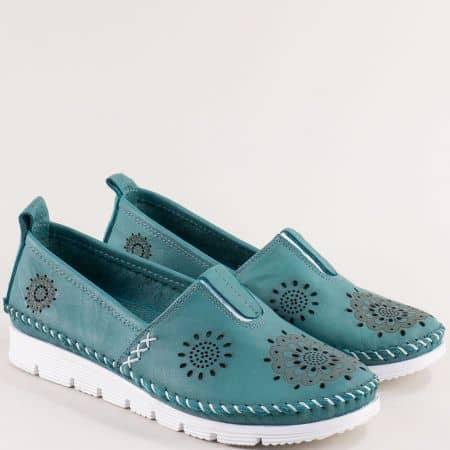 Равни дамски обувки от естествена кожа в зелен цвят с ластик b265z