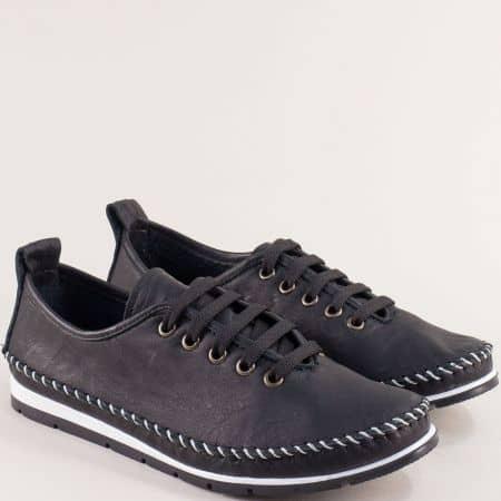 Кожени дамски обувки с връзки в черно на равно ходило b266ch