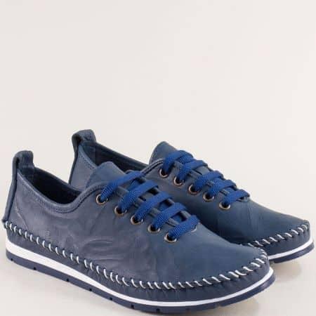 Кожени дамски обувки на анатомично ходило в син цвят b266ts