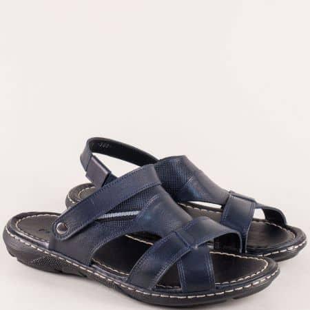 Мъжки чехли в тъмно син цвят от естествена кожа b300s