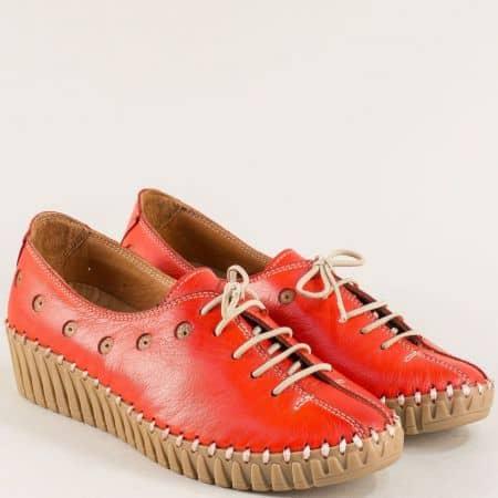 Червени дамски обувки от естествена кожа на платформа b307chv