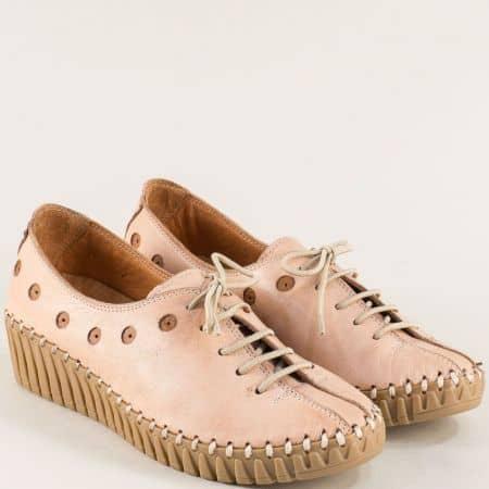 Розови дамски обувки на платформа с ластични връзки b307rz