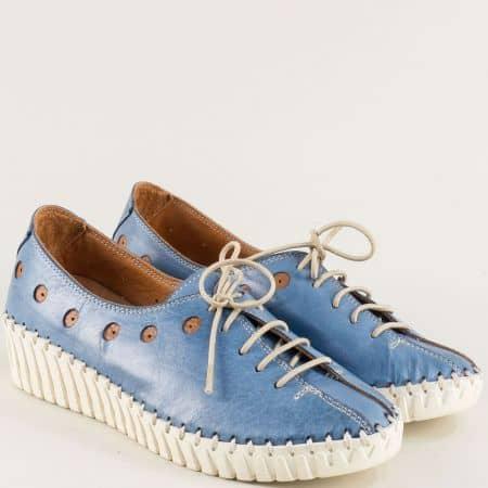 Дамски обувки на платформа от естествена кожа в син цвят b307s