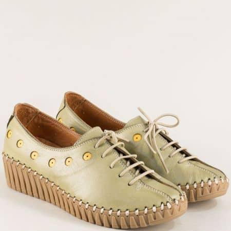 Зелени дамски обувки на платформа с кожена стелка b307z