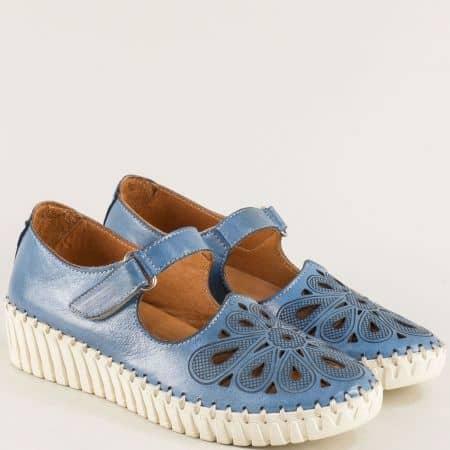 Дамски обувки на платформа от естествена кожа в син цвят b310s