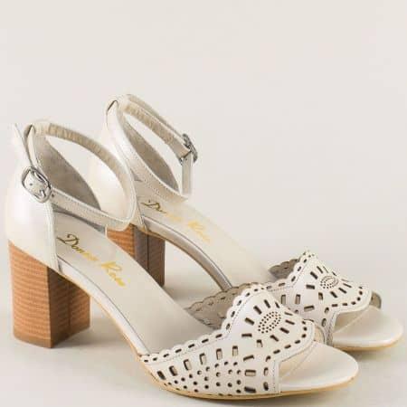 Бежови дамски сандали с кожена стелка и висок ток b34bj