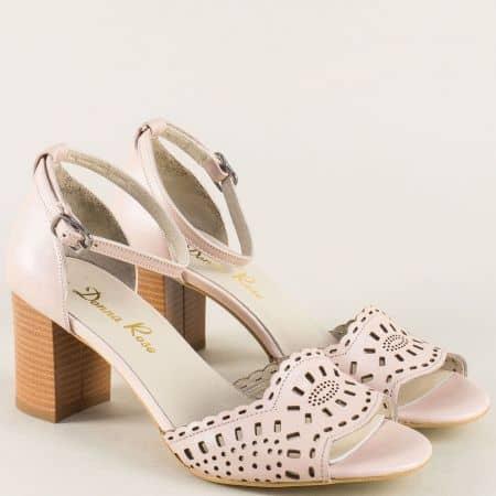Розови дамски сандали от естествена кожа на висок ток b34rz