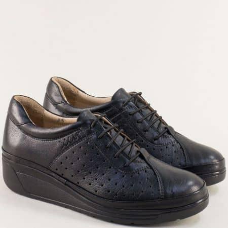 Черни дамски обувки на платформа с кожена стелка b3500dch