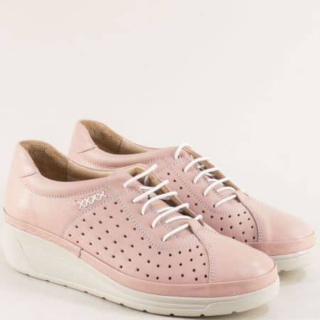 Розови дамски обувки от естествена кожа на платформа b3500drz