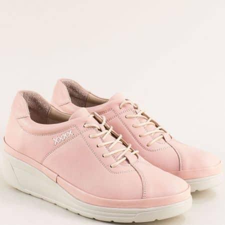 Дамски обувки на платформа от кожа в розов цвят b3500rz