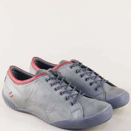 Дамски обувки с връзки от естествена кожа в сив цвят b38sv