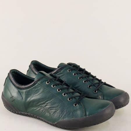 Тъмно зелени дамски обувки с връзки от естествена кожа b38z