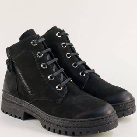 Зимни дамски обувки от естествен набук в черен цвят b4102nch