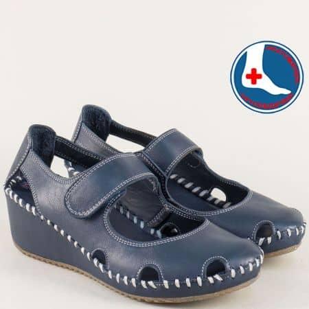 Сини дамски обувки от естествена кожа b4104s