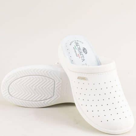 Бели дамски чехли с перфорация и велурена стелка b425b