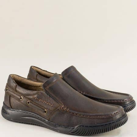 Кожени мъжки обувки в тъмно кафяво с два ластика b470kk