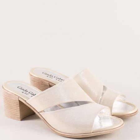 Златни дамски чехли от естествена кожа и сатен b472szl